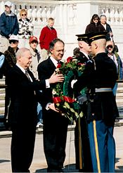 Supreme Knight Carl A. Anderson at the tomb of the unknown soldier